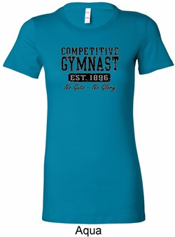 Ladies Gymnastics Shirt Competitive Gymnast Longer Length Tee T-Shirt