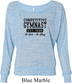 Ladies Gymnastics Shirt Competitive Gymnast Off Shoulder Tee T-Shirt