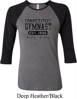 Ladies Gymnastics Shirt Competitive Gymnast Raglan Tee T-Shirt