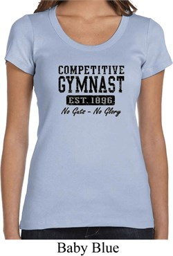 Ladies Gymnastics Shirt Competitive Gymnast Scoop Neck Tee T-Shirt