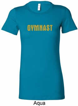 Ladies Gymnastics Shirt Gold Shimmer Gymnast Longer Length Tee T-Shirt