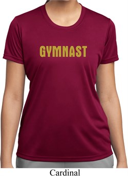 Ladies Gymnastics Shirt Gold Shimmer Gymnast Moisture Wicking T-Shirt