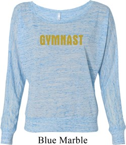 Ladies Gymnastics Shirt Gold Shimmer Gymnast Off Shoulder Tee T-Shirt