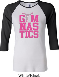 Ladies Gymnastics Shirt Gymnastics Text Raglan Tee T-Shirt
