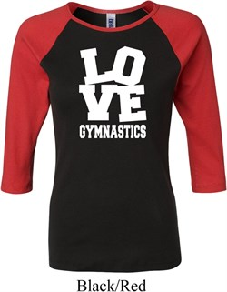 Ladies Gymnastics Shirt Love Gymnastics Raglan Tee T-Shirt