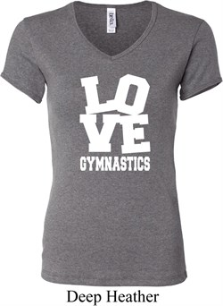 Ladies Gymnastics Shirt Love Gymnastics V-neck Tee T-Shirt