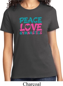 Ladies Gymnastics Shirt Peace Love Gymnastics Organic Tee T-Shirt