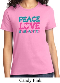Ladies Gymnastics Shirt Peace Love Gymnastics Tee T-Shirt