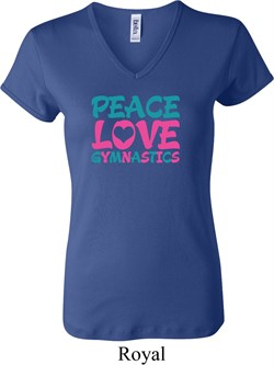 Ladies Gymnastics Shirt Peace Love Gymnastics V-neck Tee T-Shirt