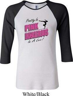Ladies Gymnastics Shirt Pretty in Pink Raglan Tee T-Shirt