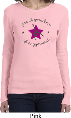 Ladies Gymnastics Shirt Proud Grandma Long Sleeve Tee T-Shirt