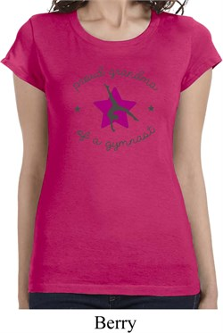 Ladies Gymnastics Shirt Proud Grandma Longer Length Tee T-Shirt