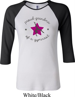 Ladies Gymnastics Shirt Proud Grandma Raglan Tee T-Shirt