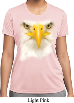 Ladies Shirt Big Bald Eagle Face Moisture Wicking Tee T-Shirt