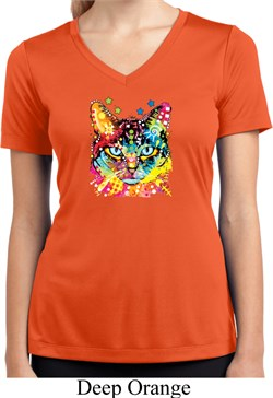 Ladies Shirt Blue Eyes Cat Moisture Wicking V-neck Tee T-Shirt