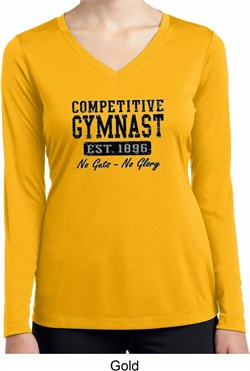 Ladies Shirt Competitive Gymnast Dry Wicking Long Sleeve Tee T-Shirt