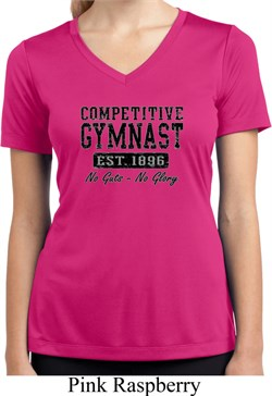 Ladies Shirt Competitive Gymnast Moisture Wicking V-neck Tee T-Shirt