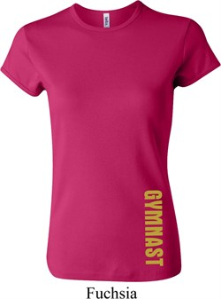 Ladies Shirt Gold Shimmer Gymnast Bottom Print Crewneck Tee T-Shirt