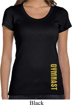 Ladies Shirt Gold Shimmer Gymnast Bottom Print Scoop Neck Tee T-Shirt