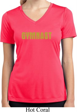 Ladies Shirt Gold Shimmer Gymnast Moisture Wicking V-neck Tee T-Shirt