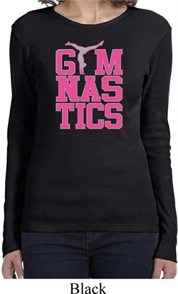 Ladies Shirt Gymnastics Text Long Sleeve Tee T-Shirt