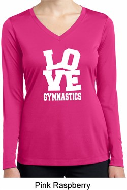 Ladies Shirt Love Gymnastics Dry Wicking Long Sleeve Tee T-Shirt