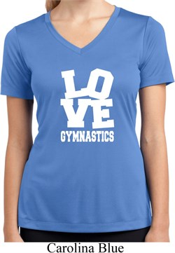 Ladies Shirt Love Gymnastics Moisture Wicking V-neck Tee T-Shirt
