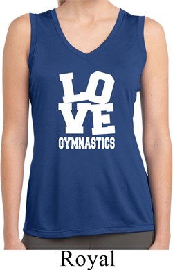 Ladies Shirt Love Gymnastics Sleeveless Moisture Wicking Tee T-Shirt