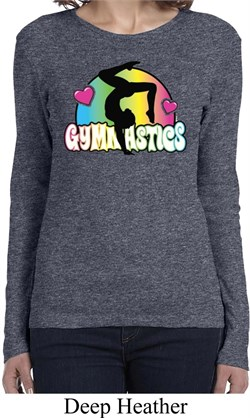 Ladies Shirt Neon Gymnastics Long Sleeve Tee T-Shirt