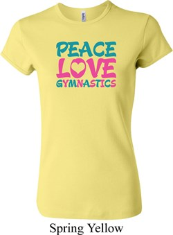 Ladies Shirt Peace Love Gymnastics Crewneck Tee T-Shirt