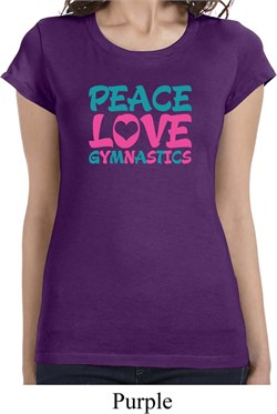 Ladies Shirt Peace Love Gymnastics Longer Length Tee T-Shirt