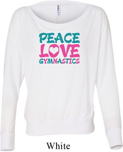 Ladies Shirt Peace Love Gymnastics Off Shoulder Tee T-Shirt