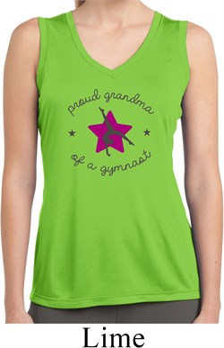 Ladies Shirt Proud Grandma Sleeveless Moisture Wicking Tee T-Shirt