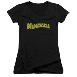 Madagascar Juniors V Neck Shirt Logo Black T-Shirt