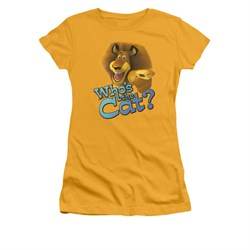 Madagascar Shirt Juniors Who's The Cat Gold Tee T-Shirt