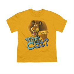 Madagascar Shirt Kids Who's The Cat Gold Youth Tee T-Shirt