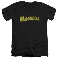 Madagascar Slim Fit V-Neck Shirt Logo Black T-Shirt