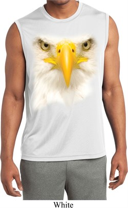 Mens Big Bald Eagle Face Sleeveless Moisture Wicking Tee T-Shirt