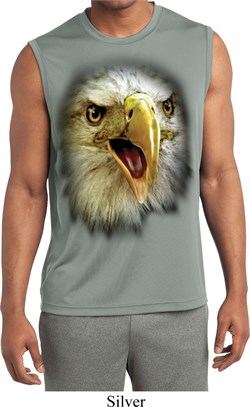 Mens Big Eagle Face Sleeveless Moisture Wicking Tee T-Shirt