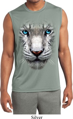 Mens Big White Tiger Face Sleeveless Moisture Wicking Tee T-Shirt