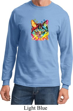 Mens Cat Shirt Blue Eyes Cat Long Sleeve Tee T-Shirt