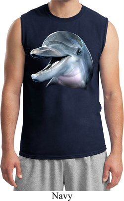 Mens Dolphin Shirt Big Dolphin Face Muscle Tee T-Shirt