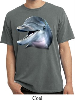 Mens Dolphin Shirt Big Dolphin Face Pigment Dyed Tee T-Shirt