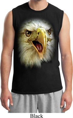 Mens Eagle Shirt Big Eagle Face Muscle Tee T-Shirt