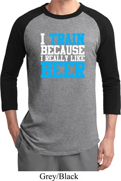 Mens Fitness Shirt I Train For Beer Raglan Tee T-Shirt