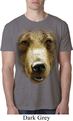 Mens Grizzly Bear Shirt Big Grizzly Bear Face Burnout T-Shirt