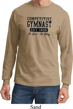 Mens Gymnastics Shirt Competitive Gymnast Long Sleeve Tee T-Shirt