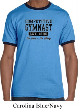 Mens Gymnastics Shirt Competitive Gymnast Ringer Tee T-Shirt