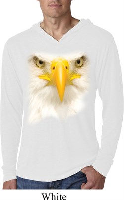 Mens Shirt Big Bald Eagle Face White Lightweight Hoodie Tee T-Shirt