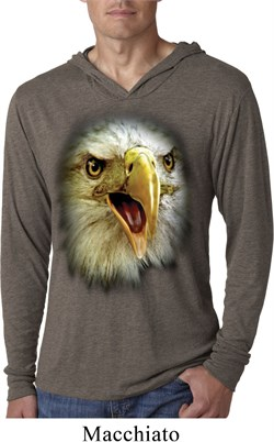 Mens Shirt Big Eagle Face Lightweight Hoodie Tee T-Shirt